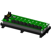 SCMPB06-2 - 8-channel backpanel with DIN rail mounting option. The backpanel is mounted on a plate which is captured by the SCMXBExx DIN rail mounting elements. Shipped fully assembled.