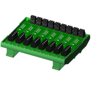 SCMPB07-3 - 8-channel backpanel without cold junction compensation circuits and with DIN rail mounting hardware. Shipped fully assembled